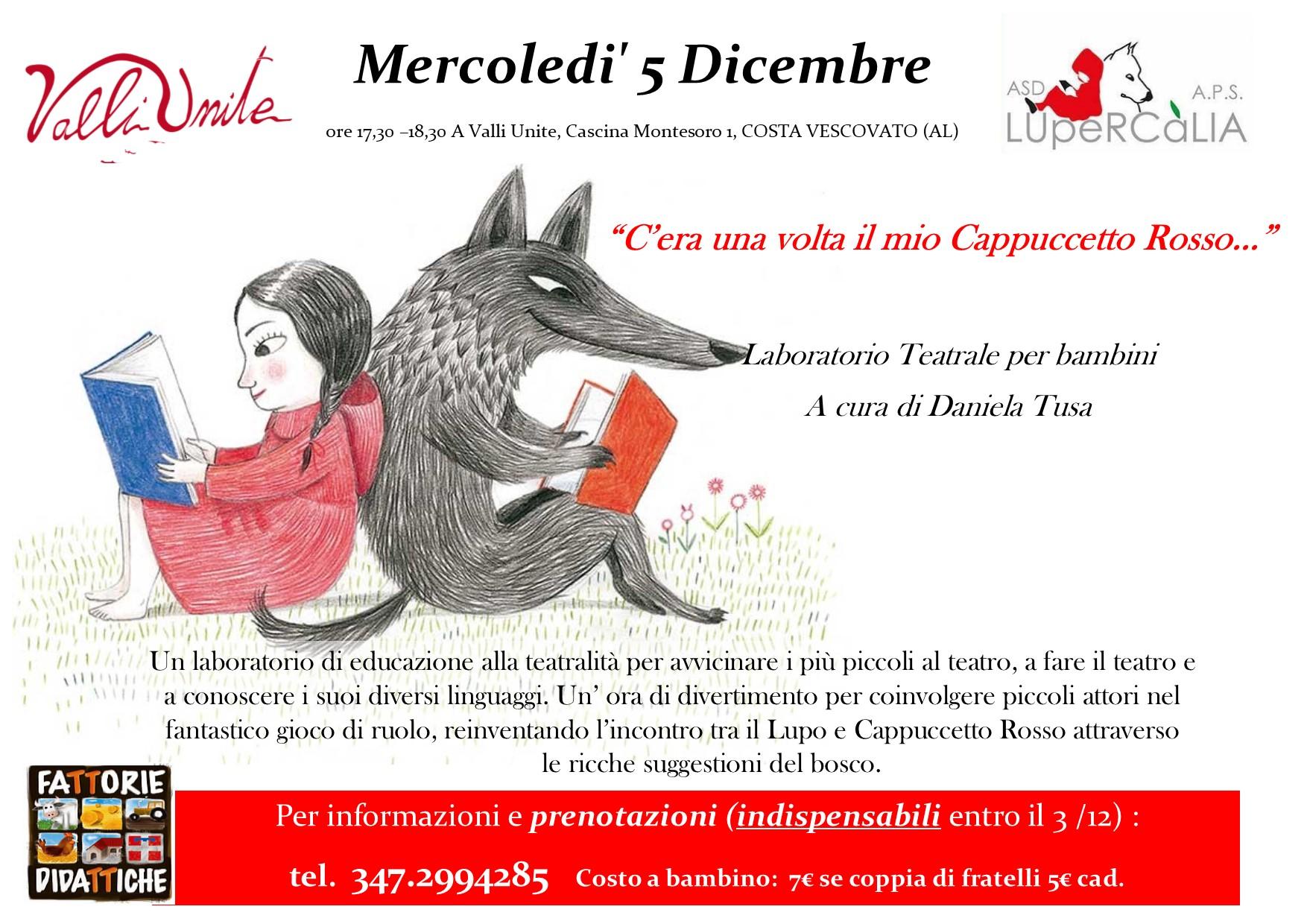 5 Dicembre laboratorio teatrale per bambini