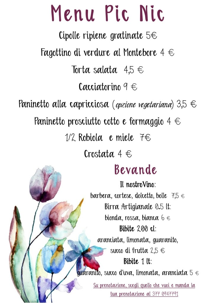 menu settembre pic nic